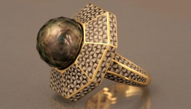 Ilgiz Fazulzyanov enamel ring with a Tahitian pearl faceted by Viktor Tuzlukov
