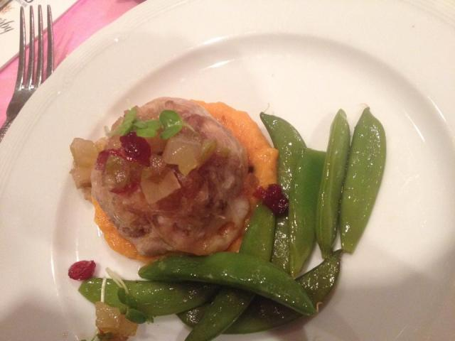 the best course - pork with carrot-hazelnut puree and snap peas.