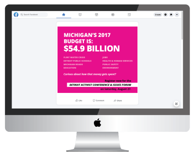 Mockup of a Planned Parenthood social media graphic about Michigan's budget on a computer screen