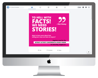 Mockup of a Planned Parenthood social media graphic about storytelling on a computer screen