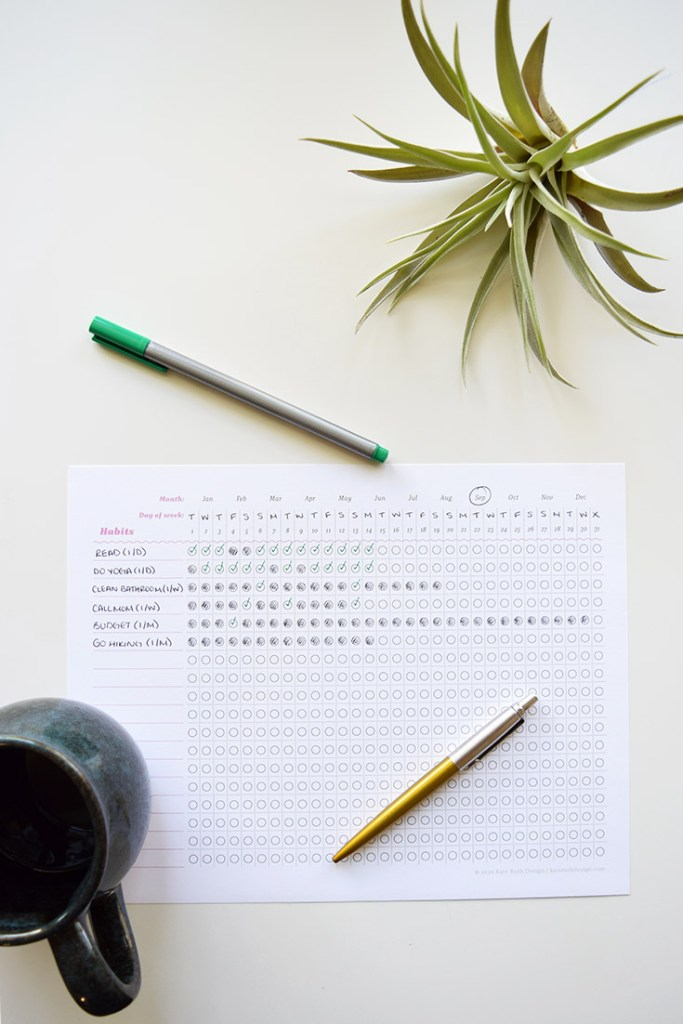 Photo of habit tracker printable and other items on desk