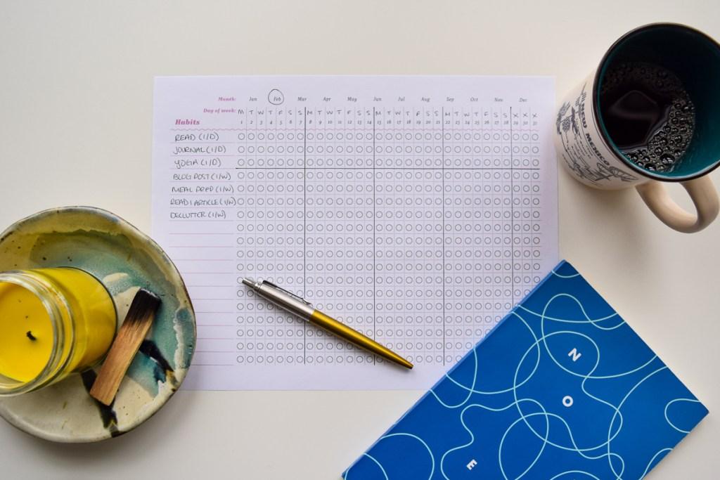Photo of filled in habit tracker on desk