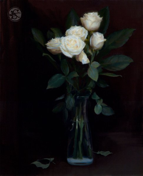 White roses, 16 x 20, oil on panel