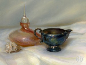 Bottle, creamer and shell, 6 x 8 inches, oil on panel