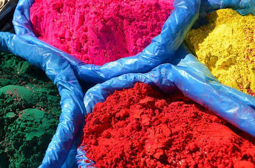 Brightly Colored Powder for Diwali.