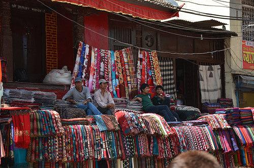 Fabric for sale in Kathmandu, Nepal.
