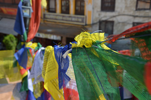 Prayer Flags at the Boudhanath Stupa in Kathmandu, Nepal.