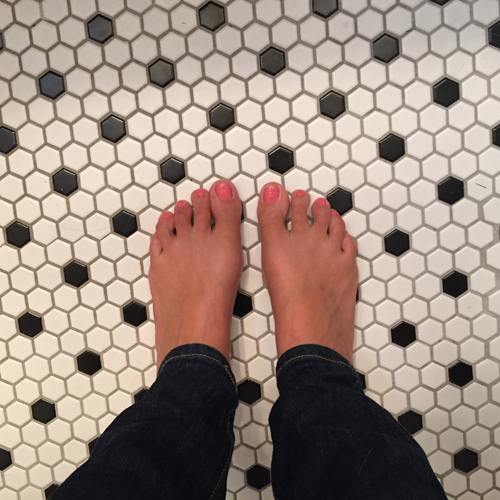 I love the vintage-style tiles in my bathrooms.