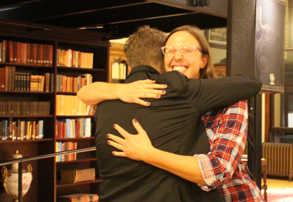 Redeeming two bad hugs with several good ones, by hugging Josh Ritter at the Mercantile Library.