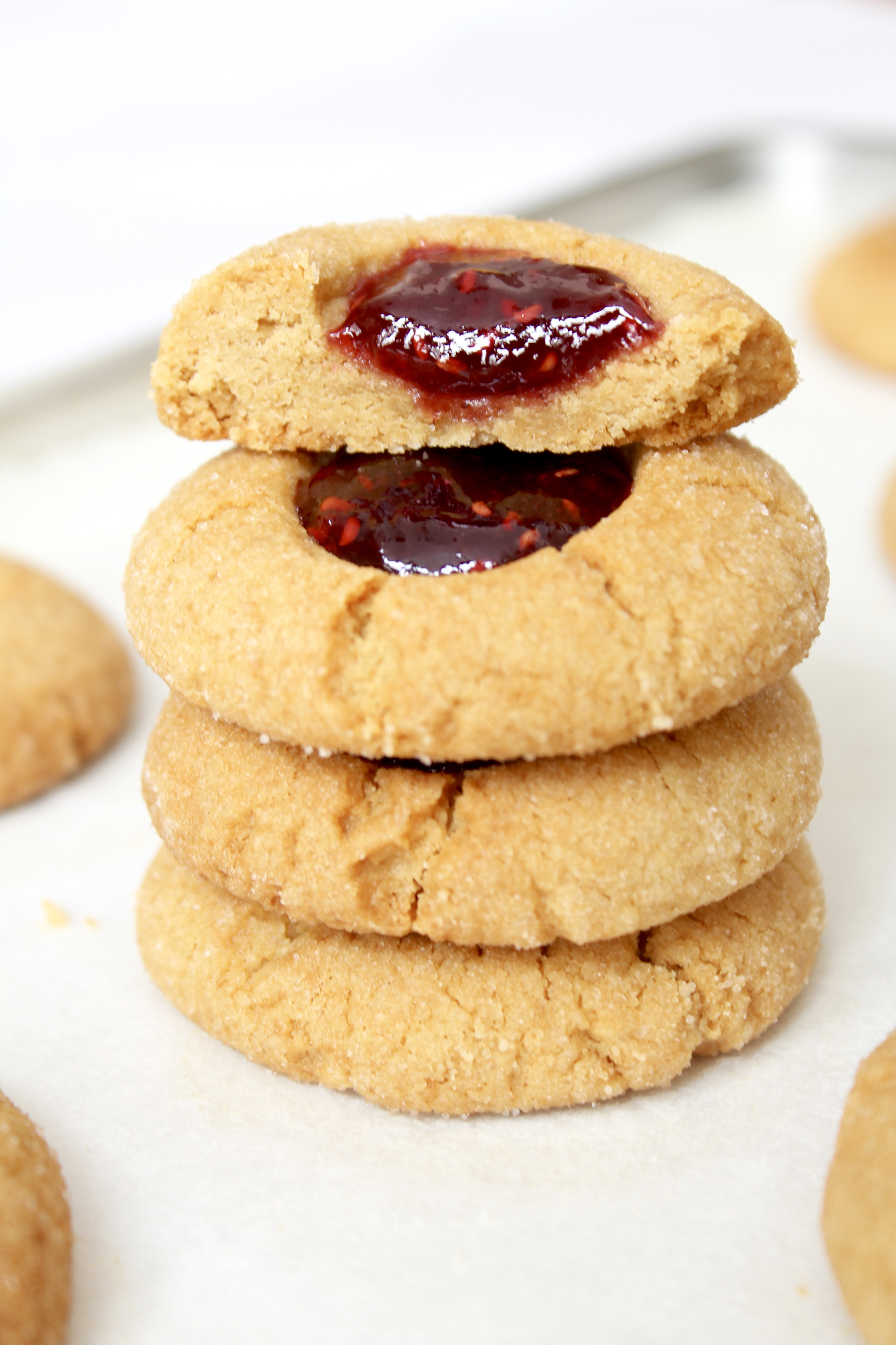 Peanut Butter and Jelly Thumbprint Cookies - Kate's Sweets