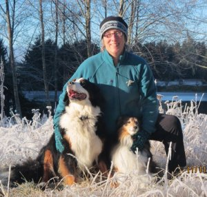 Kate Troll with Suzi (Bernese mountain dog) and Nellie (Shelty)