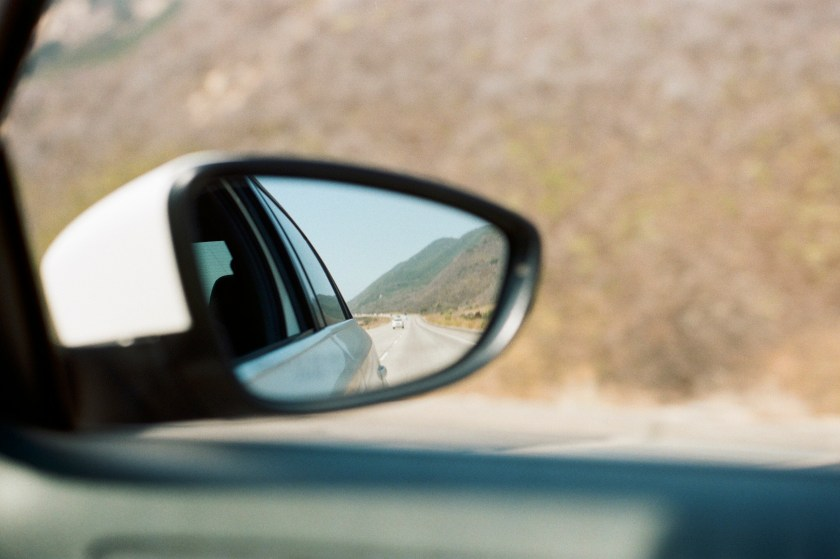 film photography image of a car mirror