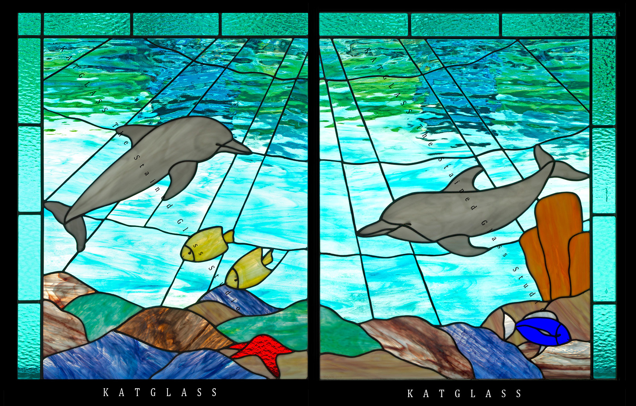 Tropical Fish Stained Glass Window Panel