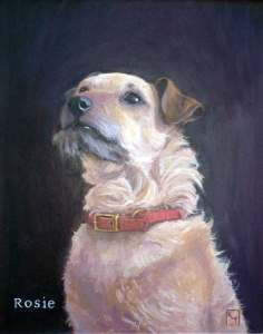 Acrylic dog portrait on canvas