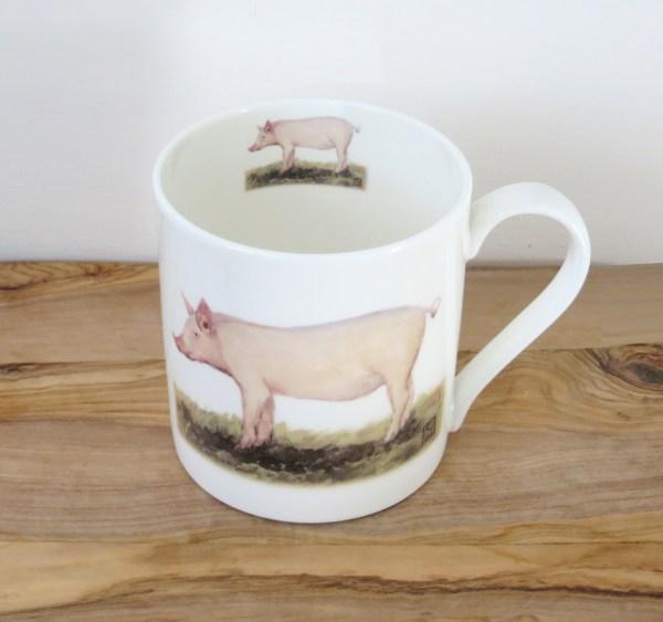 fine bone china pig mug, pig art mug