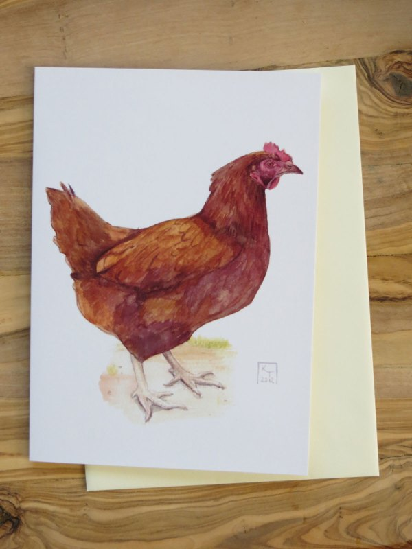 chicken fine art greetings card