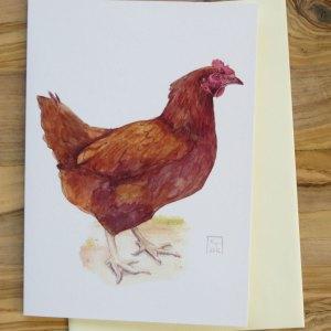 chicken fine art greetings card