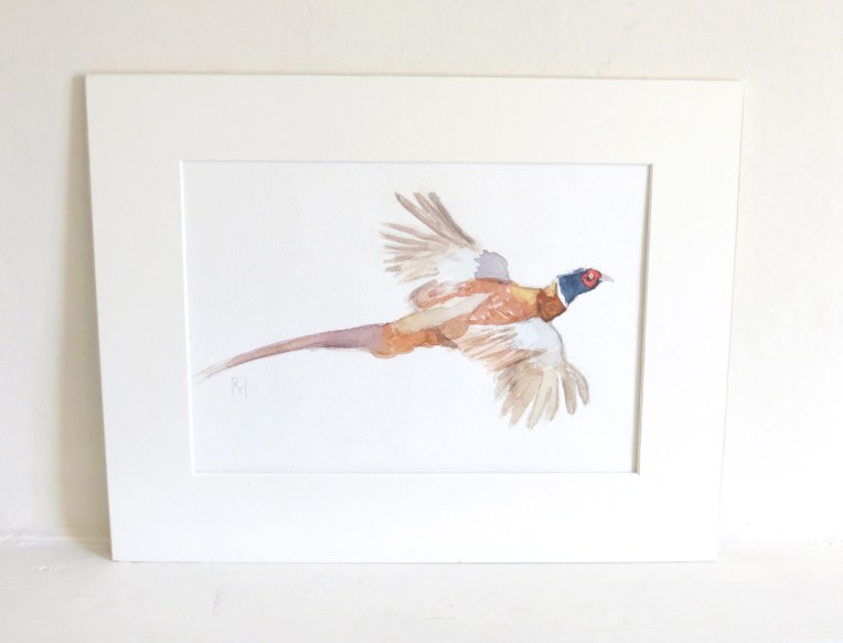 Flying Pheasant Watercolour