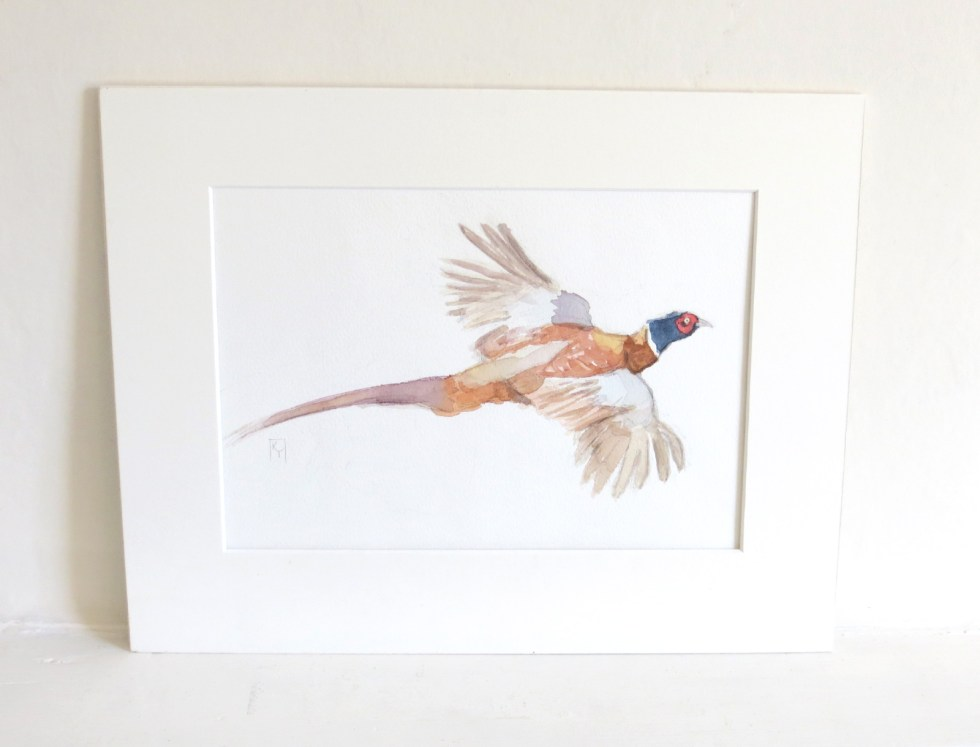 Flying Pheasant Watercolour