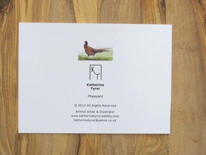 Pheasant greetings card, artists greetings cards