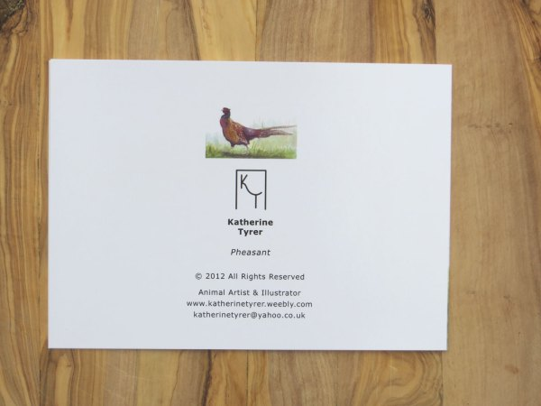 Pheasant greetings card, artists greetings cards