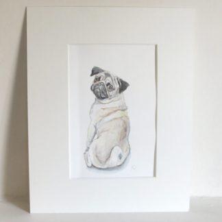 Pug watercolour artwork