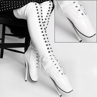 Lack Overknee Ballett High Heels weiß von Kassiopeya