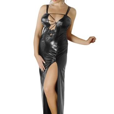 M/1072 langes schwarzes Wetlook-Kleidvon Andalea Desssous
