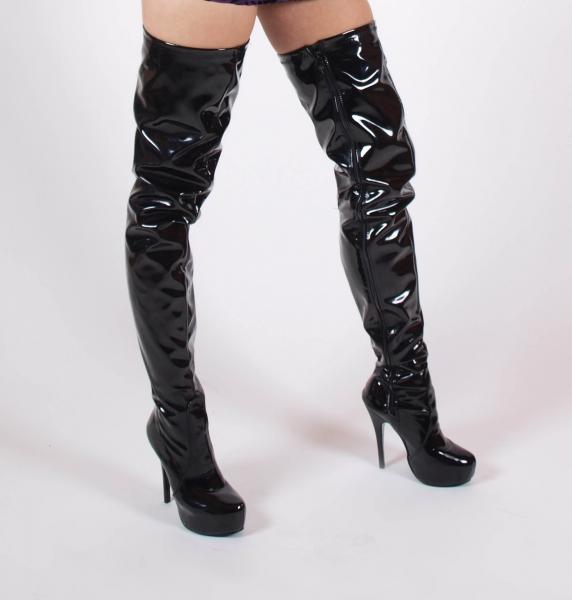 EROGANCE Lack High Heels Crotch Overknee Stiefel A3623L EU