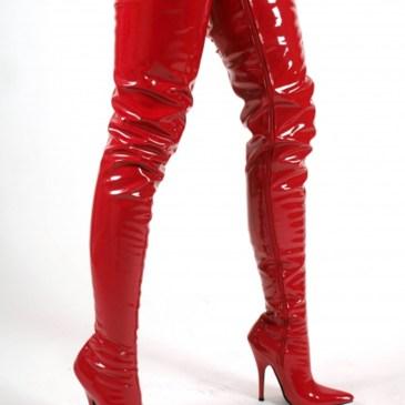 Crotch Overkneestiefel extra lang Rot