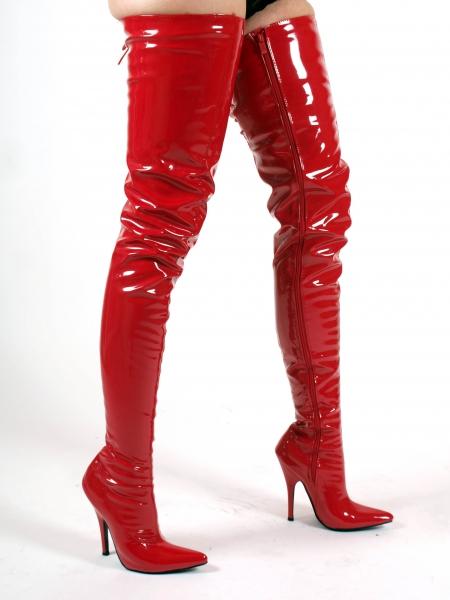 Crotch Overknee High Heels Stiefel rot extra lang von Kassiopeya