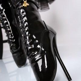 Lack Ballett – Stiefeletten schwarz