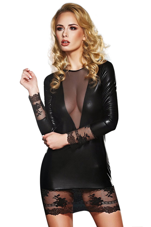 schwarzes Wetlook-Kleid Olivet von 7-Heaven Dessous