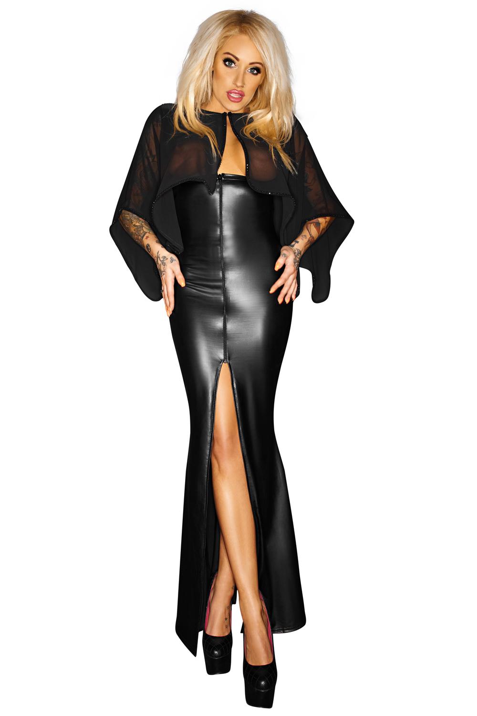 schwarzes langes Kleid F108 von Noir Handmade