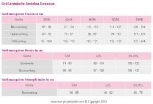 Größentabelle Andalea Dessous für Frauen und Männer