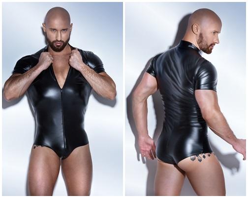 Schwarzer Powerwetlook Body H045 von Noir Handmade