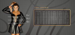 Größentabelle Noir Handmade - Diva Collection, GoGo-Wear, Clubwear, Chemises, Minikleider, Negligees, Strapse, Bodys für Frauen