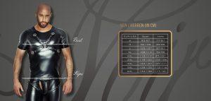 Größentabelle Noir Handmade - Clubwear, Boxershort, String, Tanga, Slip, Pantys, Wetlook, T-Shirts, Unterhemden für Herren