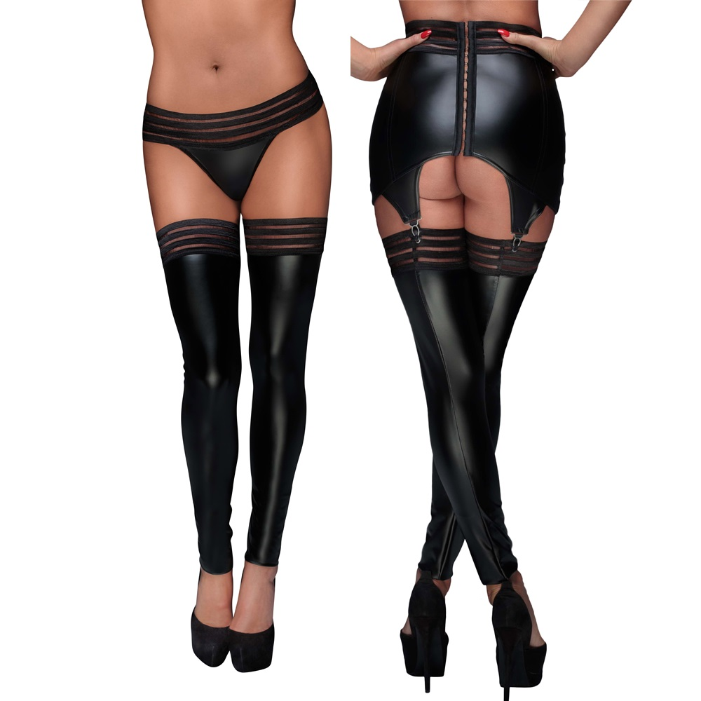 F158 Powerwetlook Stockings mit elastischen Bändern von Noir Handmade Muse Collection