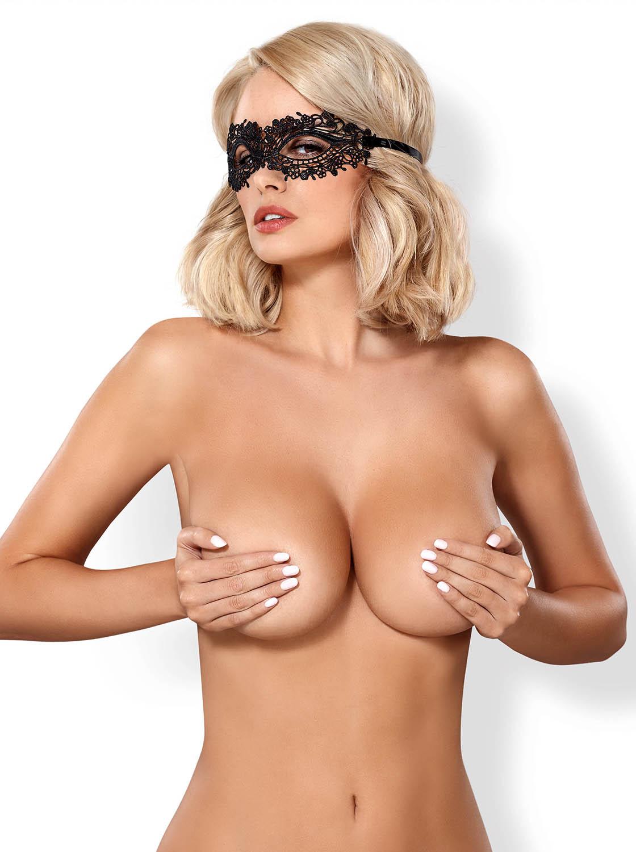 A710 Guipure-Maske schwarz von Obsessive – 5901688215883