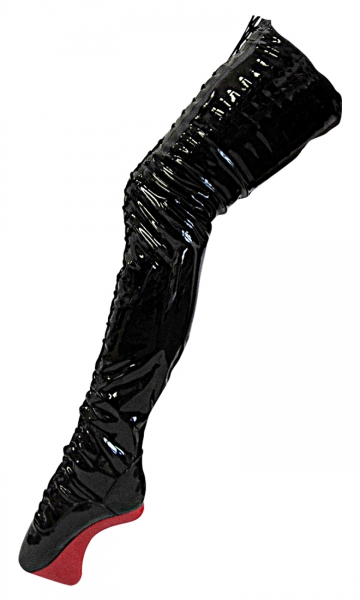 Pony Crotch Overknee Ballettstiefel schwarz rot