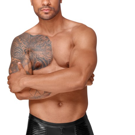 H054 Powerwetlook Shorts mit dekorativen PVC Zierfalten von Noir Handmade Decadence Collection  EAN: 5903050103149