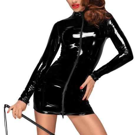 F187 PVC Minikleid mit schwarzem 2-Wege Zipper auf der Vorderseite von Noir Handmade Decadence Collection EAN:5903050102487