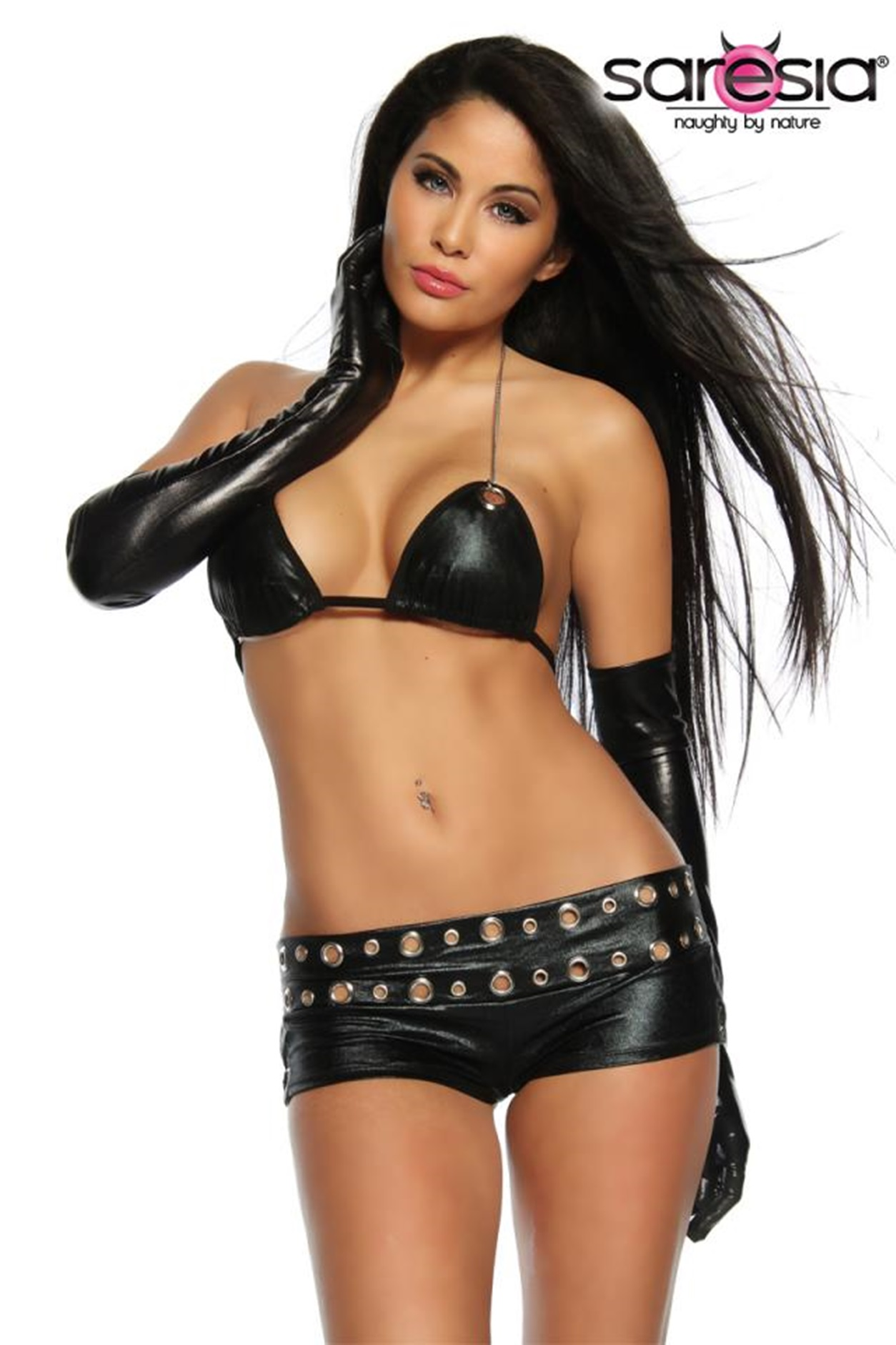 18094 Wetlook-Hot-Pants-Set schwarz von Saresia