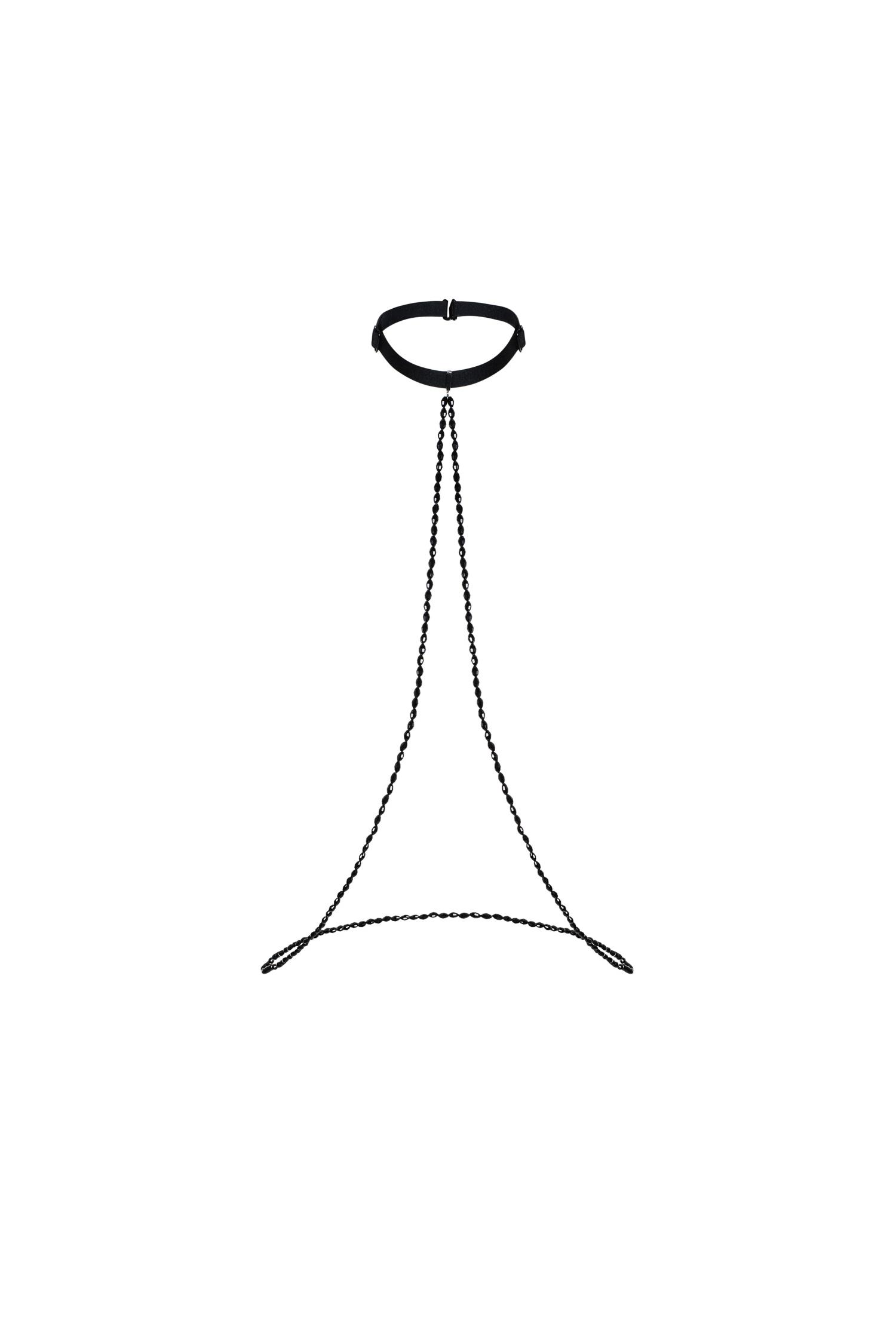 2718 langer Choker mit schwarzer Kette – One Size aus weichem Samt mit langer Rückenkette