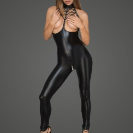 F125 Schwarzer Wetlook Catsuit von Noir Handmade Diva Collection