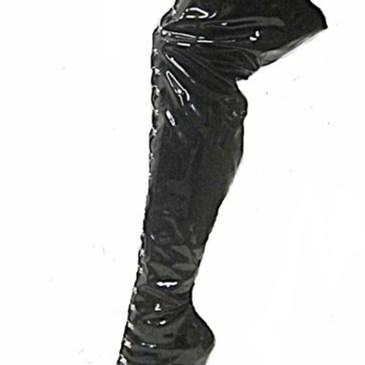 Weitschaft Overkneestiefel schwarz mit Schnürung
