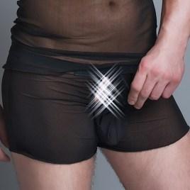 MC/9010 Boxer aus schwarzen transparenten Tüll für Männer Gr. L/XL