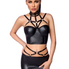 18263 Harness-Wetlook-Set mit Rock