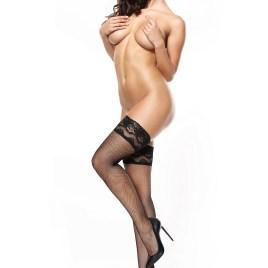 MI S605 fishnet hold up stockings black 20den von MissO